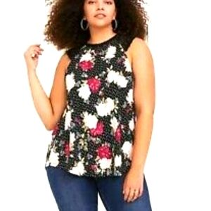 Torrid womens floral and dot tank top
